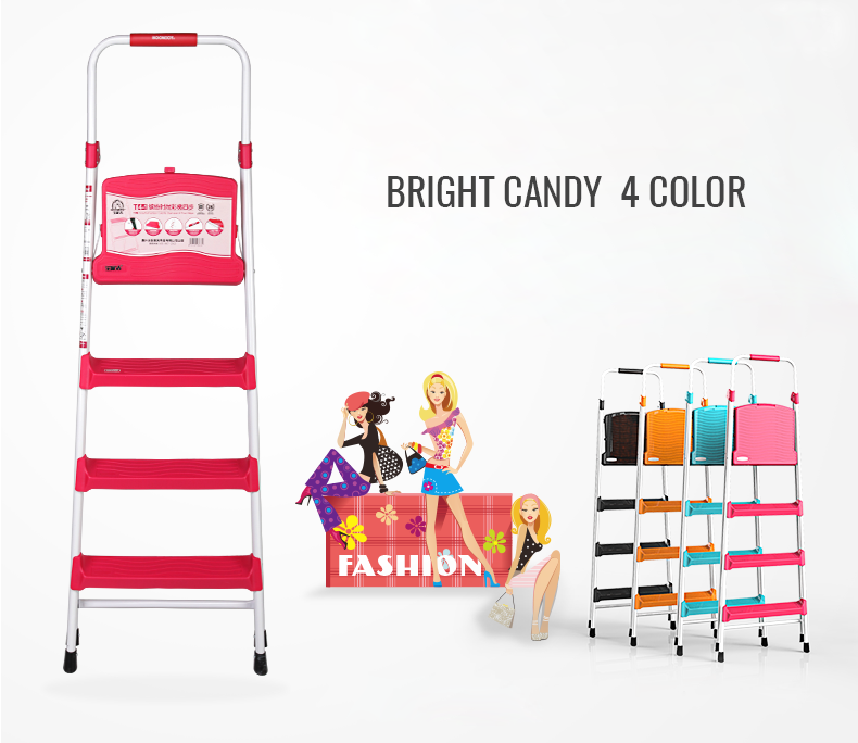 4 CANDY COLOR 4 STEP HOME PRODUCT IRON PAINT FOLDING LADDER T4