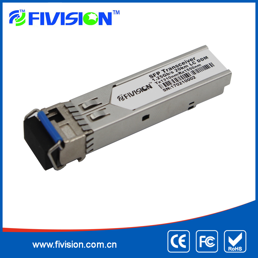 1.25G 1310nm 20km Reach SFP Optical Transceiver LC Connector Compatible Cisco Networks