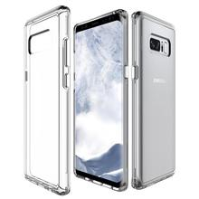 Clear cellphone case cover for sung for samsung galaxy note 8 hybrid case tpu pc bumper