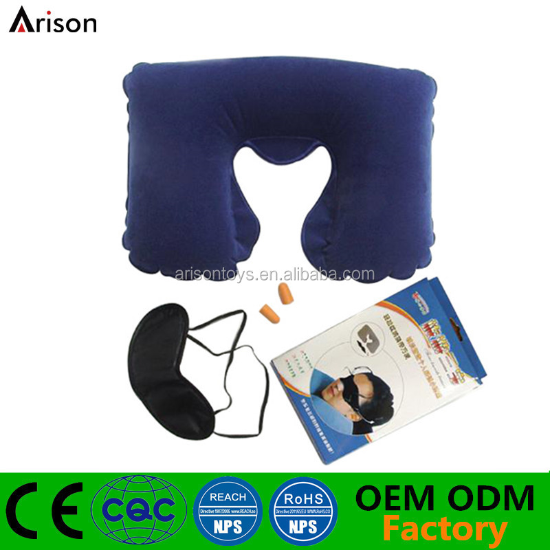 Inflatable flocked PVC neck pillow U shape travel pillow with eye mask