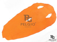 PELGIO Genuine Stingray Skin Leather Hide Pelt Round Shape Orange