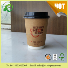 disposable kraft paper double wall coffee paper cups with lids