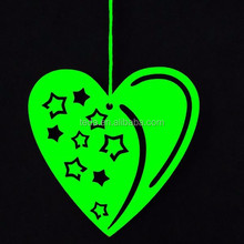 Green color 8*8 cm wooden chirstmas heart ornament