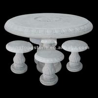Round White Marble Table and Chairs with Floral Design