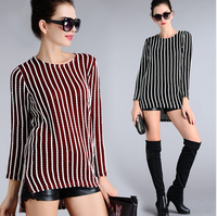 T-shirt Womens 2016 Striped Split Desigual Cotton Loose Casual Long Sleeve Tops Clothing