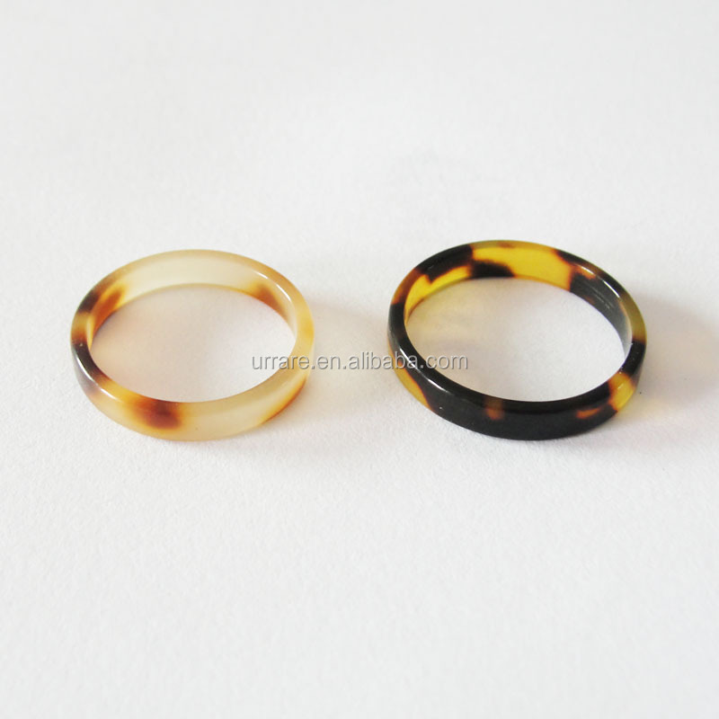 Yiwu Factory Cellulose Acetate Materials Tortoise Shell Fashion Rings