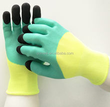 Seamless warm cotton knitted foam latex coated glove slip resistant industrial gloves with price