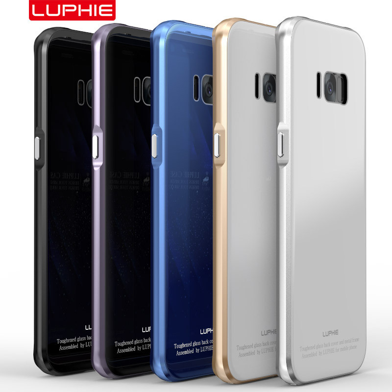Wholesale luphie all desigh aluminum metal bumper tempered glass back mobile phone case cover