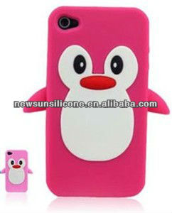 cute silicone penguin cartoon animal shaped phone case cover for 4/4S/5