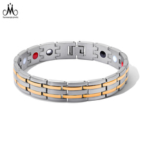 New Arrival Gold Line Germanium Power Energy Balance 12mm Stainless Steel Magnetic Bracelet
