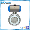 6 Inch PTFE Lined Pneumatic Butterfly Valve / Stainless Steel Chemical Butterfly Valve