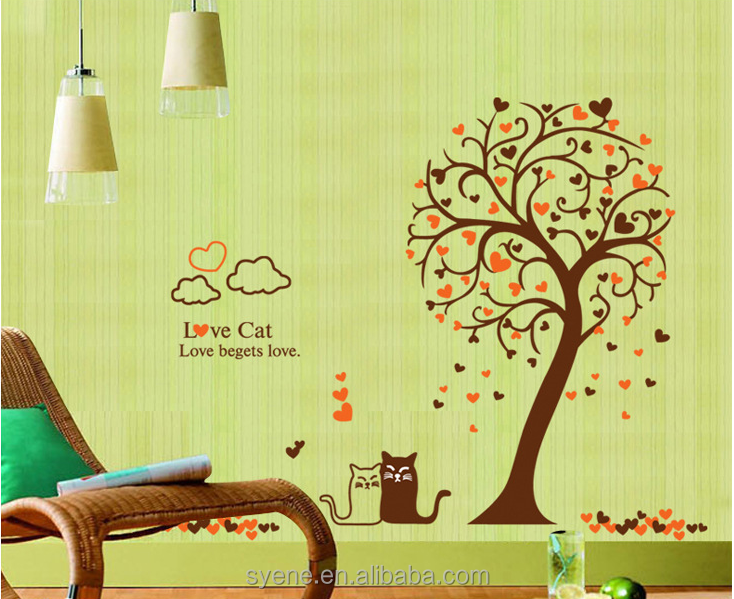 Cat Wall Sticker Pink Flower Wall Stickers Home Decor Xl Colourful Tree Baby Kids Nursery 3d