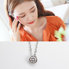 Free shipping 925 sterling silver charming white diamond pendant necklace