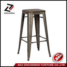 "30"" Indoor And Outdoor Metal Counter Barstools Sturdy And Stackable Vintage Style Chair with wood seat"