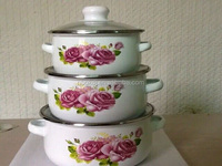 3 pcs enamelware surgical steel cookware in china
