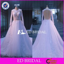 CE838 Real Sample China Factory Customized Royal Train Princess Lace Long Sleeve Wedding Gown