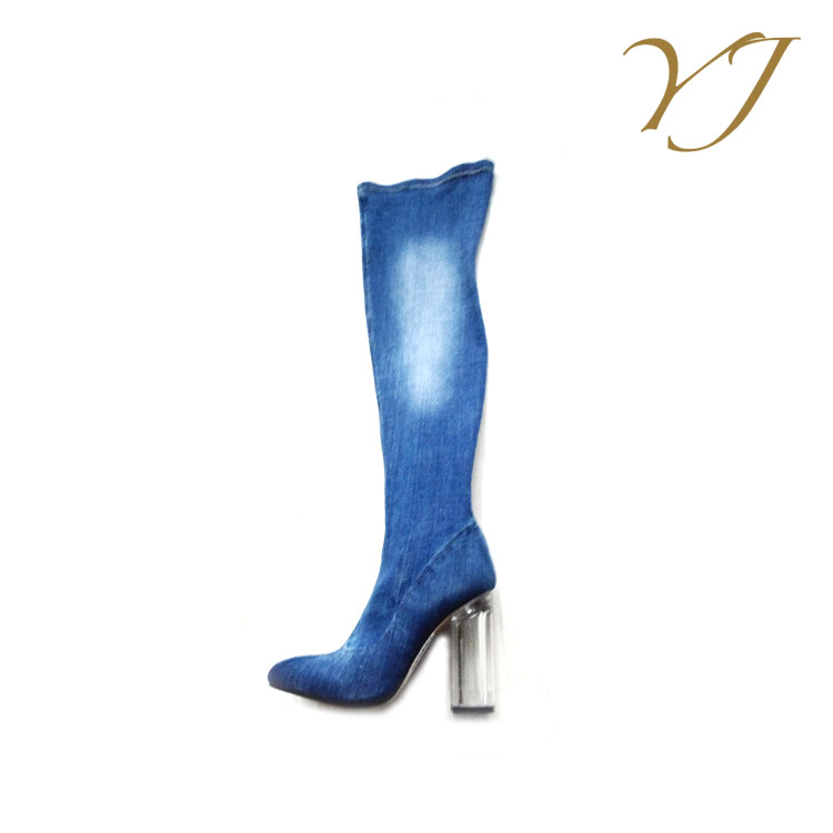 High quality ladies side zip boots thigh high elastic denim boots with crystal heels