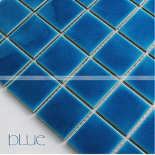 Ceramic mosaic tiles cracked ice Mediterranean blue pool bathroom wall tiles