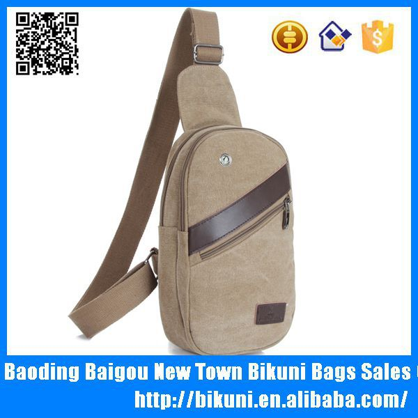 Guangzhou China wholesale hot sale man's bags small sling cheap canvas and PU leather chest bag for men