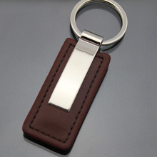 Leather Metal keychain key holder printing Customize logo