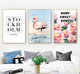 Nordic Style Modern Fashion Animal Flamingo Art Print Painting with PS Golden Frame