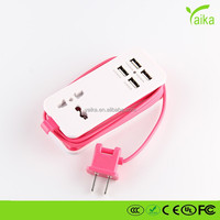 High quality portable 4-port USB charging station with universal power socket 4.1A adapter