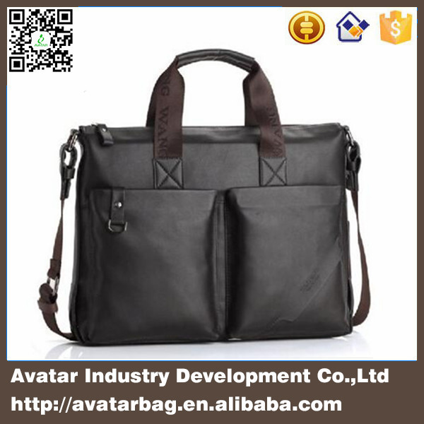 Delicate design simple style pu leather men's laptop bag