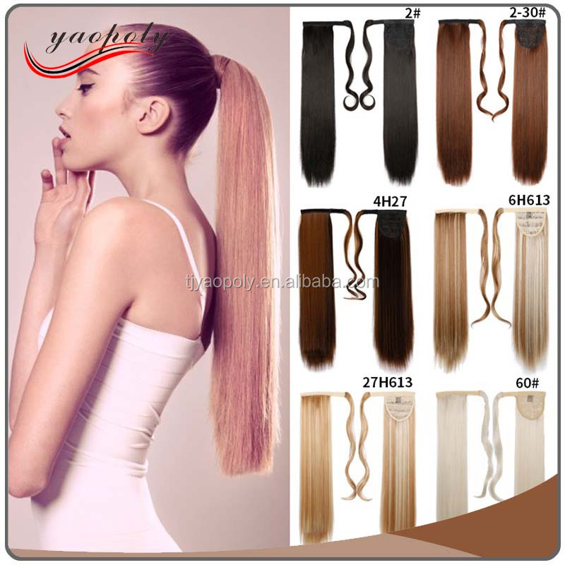 2017 Popular #Blond & Ombre color Synthetic Japanese Fibre Heat Resistant Claw Ponytail Ponytail Hairpieces Hair Extension