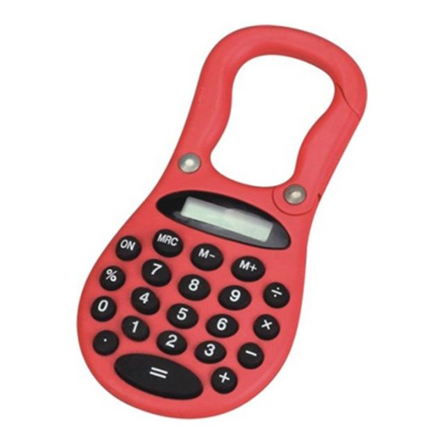 Supply logo printed mini Calculator with hook and carabiner for promotion