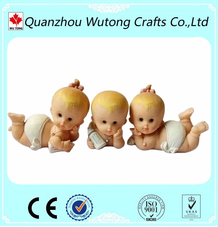 wholesale polyresin lovely baby figurines for Cake decoration