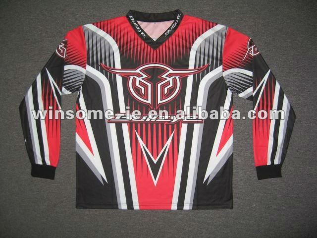 Designer customized Professional Mens 100% Polyester Wicking Yarn Sublimation Motorbike Jersey