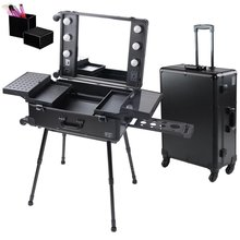 4-Wheel Rolling Makeup Case With Lights