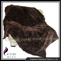 CX-D-66B Brown Patchwork European Genuine Rex Rabbit Fur Rug
