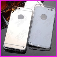 Aluminum electroplate Acrylic Case Ultra Thin Metal cover for iphone 6s/5 soft cheap mirror case for phone
