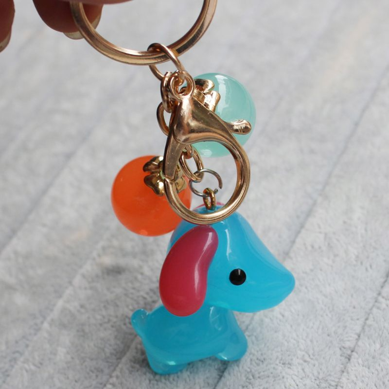 cheap Lovely Dog Shaped Plastic Key Chain Animal Lobster Clasp keychain charms Key Ring wholesale Length 100mm
