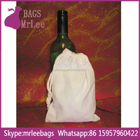Custom white drawstring cotton wine bottle bags from china factory