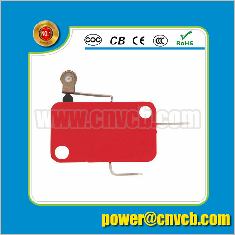 M18 KW7-3B Solder terminal micro switch with short roller lever 1a normally close (push to off) red micro switch
