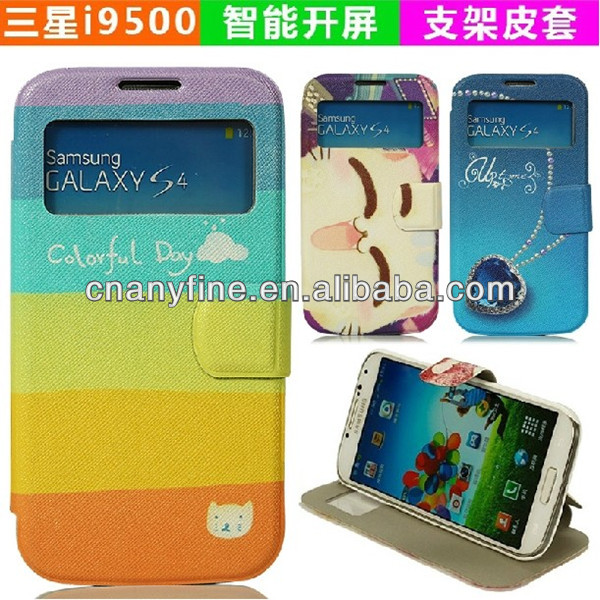 colorful pattern leather case for Samsung Galaxy S4 i9500
