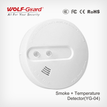 Wireless/Wired Smoke +Temperature detector 433mhz wireless motion detector smoke and heat detector YG-04