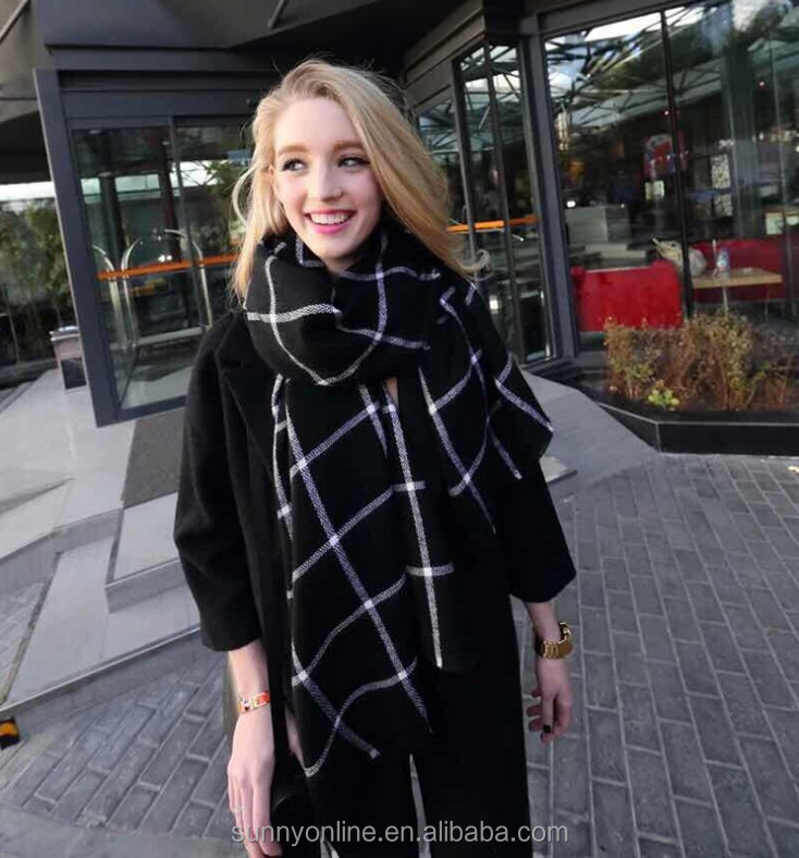 New Arrival 2016 Women Winter Soft Plaid Knit Artificial Wool Scarf Long Scarves Wrap Black Red Shawl Warm Scarf Q0461