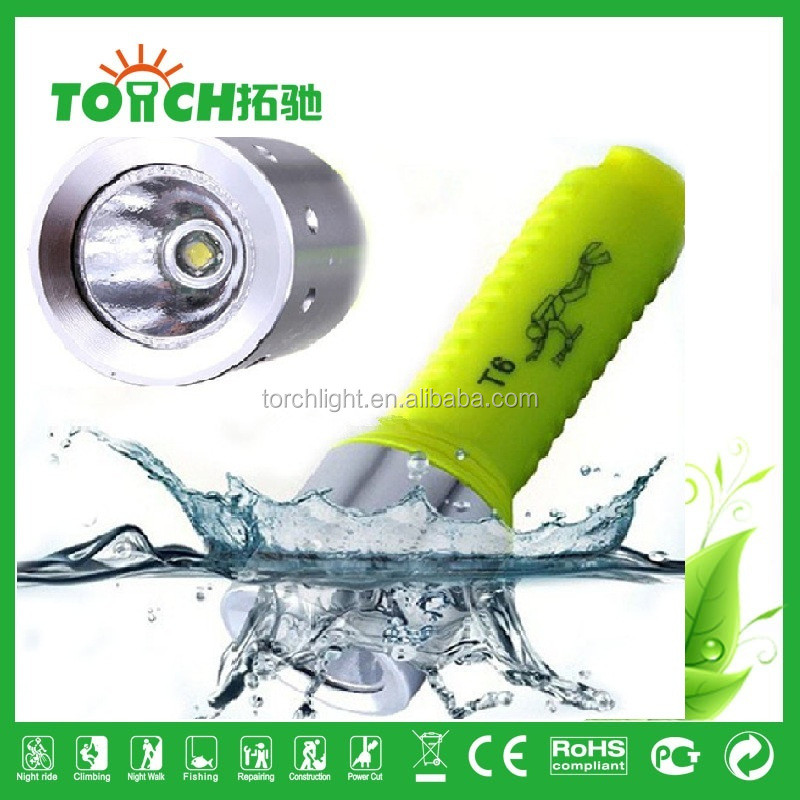 High brightness 10w t6 bulb 1000 lumen led diving flashlight 18650 battery operated with ce rohs certificaion diving flashlight