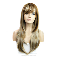 Long staright 26 inch synthetic fake hair heat resistant silk party full lace wigs for Europe and American