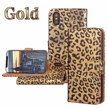 book style Leopard Pattern Leather Wallet Phone Case for iPhone X