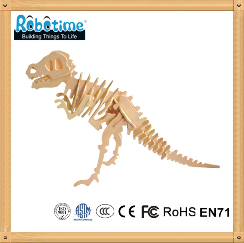 3D DIY educational wooden puzzle dinosaur toy