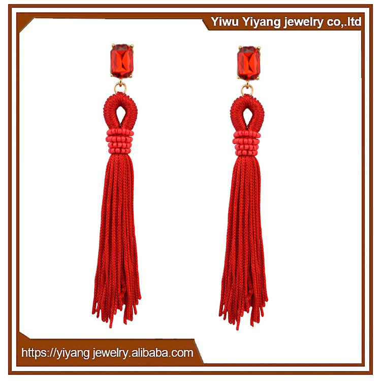 Handmade Chinese Style Ethnic Earrings Long Tassel Jewelry for Celebration Day