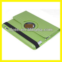 Magnetic Rotating Leather Case for the New iPad 3 Smart Cover With Swivel Stand 360 Degree Plain Synthetic Color Green