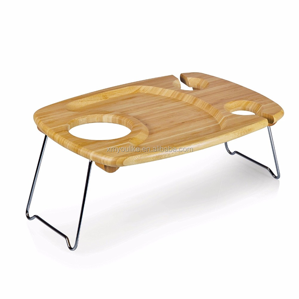 Portable Outdoor Wine Snack <strong>Table</strong> Bamboo Picnic <strong>Table</strong> Mini Bar <strong>Table</strong>