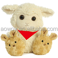 imprinted plush cream colored lamb with big tan bunny face feet promotional soft stuffed toys111
