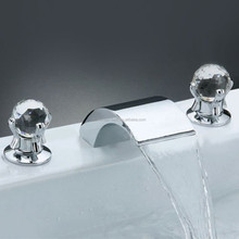 Deck Mount Crystal Two Handle Widespread Waterfall Bathroom Bath Tub Filler