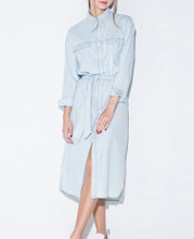 Retro Style Light Blue Long Sleeve Jean Style Dress For Women Multiple Size Available